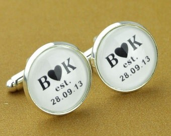 Custom Cuff Links, Personalized father of the bride wedding date cufflinks, Wedding cuff links, Groom cuff links, bestman cuff links-004