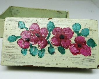 Vintage wooden box, trinket box, tole painting, green, pink flowers