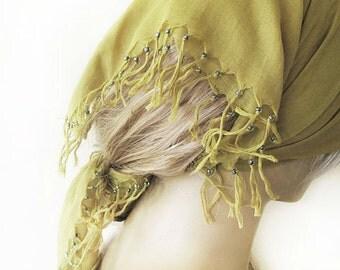 olive green square fringed bandana, Hair Accessories, fashion Headband, Turban Headband, turkish cotton summer accessory, accessory bag
