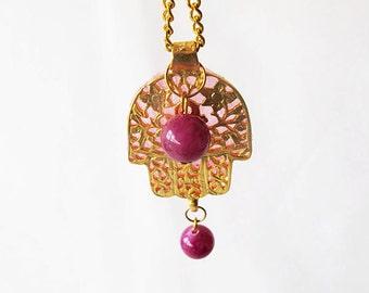 Hamsa jewelry, Hamsa gold necklace, Hamsa Fatima necklace, TURKISH jewelry, Hamsa pink tissue, Gift Ideas