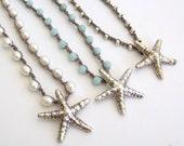 Beach Jewelry Starfish Necklace - Freshwater Pearls, Amazonite, Silver Beads, Sterling Silver Starfish Pendant,  - Boho Beach Cottage Chic