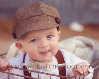 toddler boy newsboy hat cap brown black houndstooth newborn summer photography prop wedding set