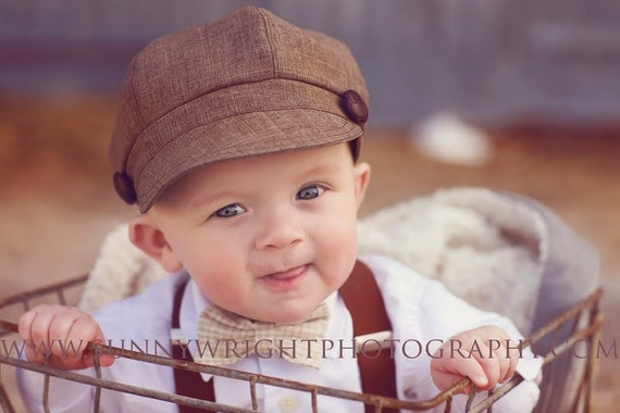Toddler Boy Newsboy Hat Cap Brown Black Houndstooth Newborn