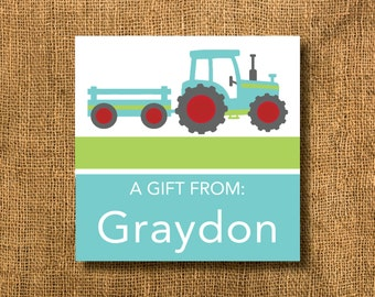 Tractor Boy Gift Tags or Calling Cards, Boy Gift Tags, Tractor Gift Tags