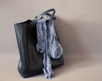 Teal Asphalt - teal, grey, bluish grey color silk ruffled scarf