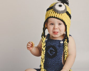 Yellow Minion Inspired Hat and Overall Set- Made to Order- Newborn through 24 M