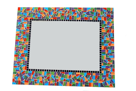 Multicolored Mosaic Mirror, Large Wall Mirror, Colorful Home Decor