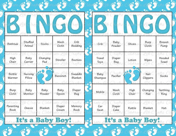 60 Baby Shower Bingo Cards - Printable Party Baby Boy - Instant ...