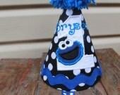 Cookie Monster Black Polka Dot Birthday hat