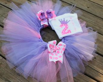 Pretty Princess Birthday Tutu Set in Pink & Purple.