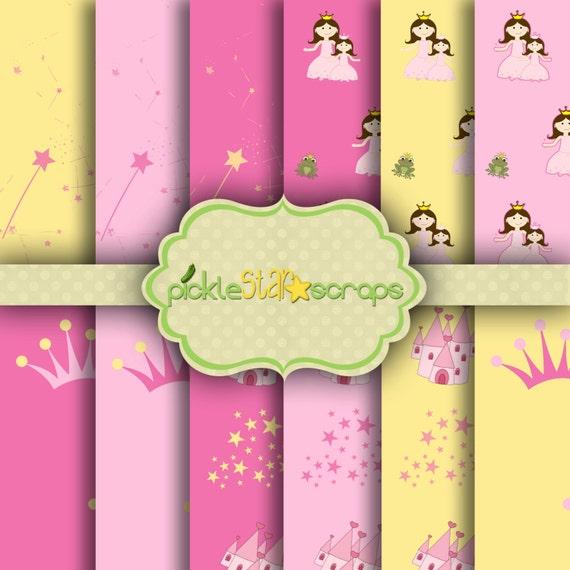 Pretty princess pink 12 princess papers 12x12inch for Pretty princess wallpaper