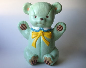 Vintage Mint Green Teddy Bear Piggy Bank