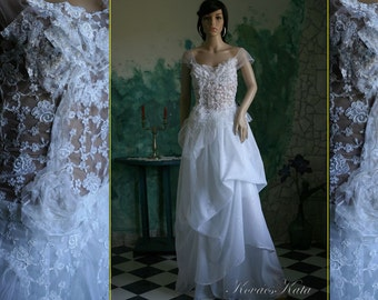 Ethereal Two Parted White Lace Wedding Gown - Ida