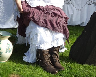 Authentic RitaNoTiara W/ the Magnolia Bow Snow Pearl OOAK Vintage Crochet long skirt Victorian style  New Romantic Boho Gypsy Lagenlook