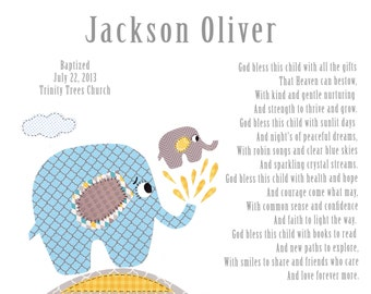 Baptism Gift for Baby Boys - Christening Gift for Boys - Elephant Nursery Art - Personalized Baptism Gift - - PRINT