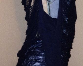 Single ladies hand shredded black tee