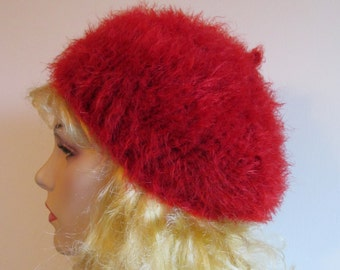 CLEARANCE - Red Classic Beret Slouchy French Beret Hats Tam Oversize Berets Fluffy Red color