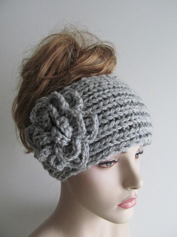 Items Similar To Gray Flower Headbands Ear Warmers Crochet