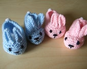 Hand Knitted newborn baby bunny rabbit bootees slipper shoe in pink OR blue with white pompom tail  To fit approx. 0-3 months. Baby shower