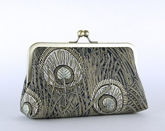 EllenVintage Hera Liberty Peacock Clutch in Brawn, Bridal clutch, Gift ideas, Bridesmaid clutch