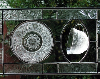 All Clears Stained Glass, Sandwich Glass Dishes up cycled into Stained Glass Panel