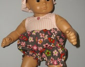 Bitty Twin or Bitty Baby romper and matching hat for 15 or 16 inch doll such as American Girl