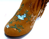 Custom painted birds flowers on womens half boot light brown suede with fringe various sizes
