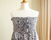 Batik Smocked Tube Dress in Grey