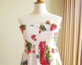 SALE White Floral Print Smocked Dress with Fabric Flower Brooch