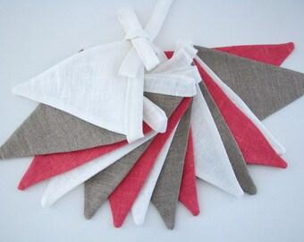 Bunting / Fabric Flag Banner / Pennant Nursery / Porch / Patio Decor / Photo Prop / Ecru / Pink / Ivory