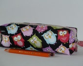 Pencil Case / Pencil Pouch / Zipper Pencil Case - Colourful Owl with Black Background