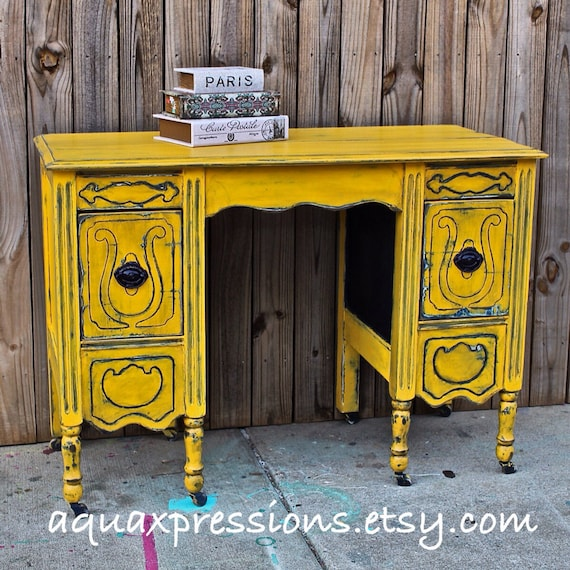 Antique Yellow Bedroom Furniture Bedroom Colour Design Ranch Bedroom Decor Cool Kid Bedrooms For Girls: Yellow Vintage Desk/ Navy/ Vanity/ Bedroom By AquaXpressions