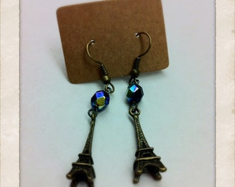 2cm Tall Eiffel Tower Vintage Style Earrings
