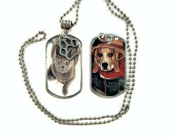 Pet Photo Dog Tag Necklace Personalized Custom Dog Tag Picture Necklace Pet Jewelry in Matching Gift Tin for pet lovers friends teens kids