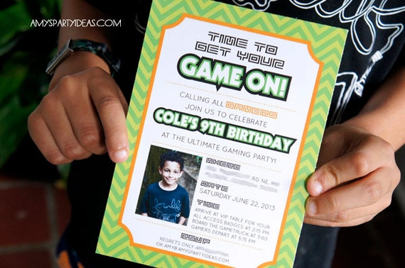 video game birthday party gamer party invitation gamer, Party invitations