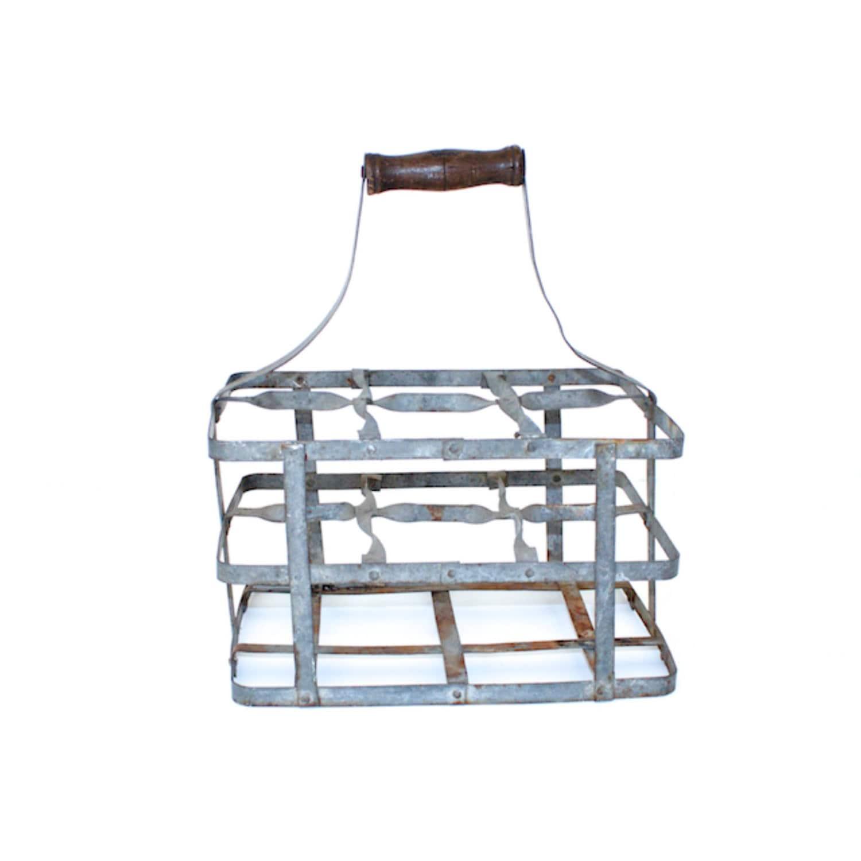 vintage zinc milk bottle carrier. Black Bedroom Furniture Sets. Home Design Ideas