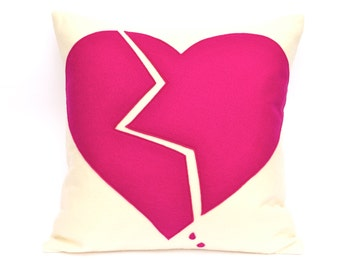 Broken Heart- Appliqued Eco-Felt Pillow Cover in Cream and Pink - 18 inches