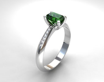 Green Tourmaline engagement ring, White Gold, Emerald cut, tourmaline, Solitaire, Engagement ring, Diamond, green, rose gold, yellow gold