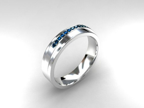 Sky Blue Diamond Ring Men Wedding Band White By TorkkeliJewellery