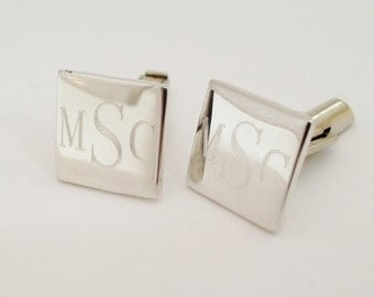 Sterling Silver Cuff Links Custom Engraved - Square Monogrammed Engraved Personalized