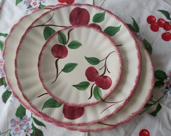 Vintage Blue Ridge, Southern Potteries Platter and Plates, Cherry Bounce Pattern, Set of 4