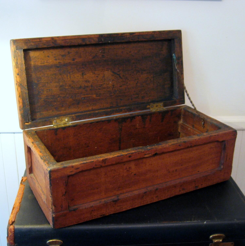 Primitive antique wooden chest storage locker