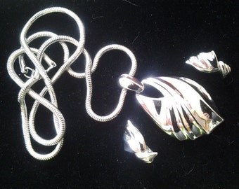 Trifari Silver Tone Set, Necklace and Clip Earrings