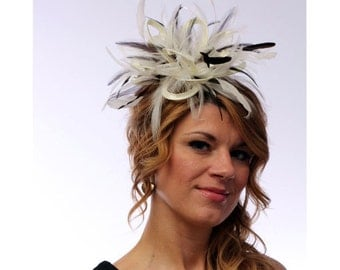 Cream and Brown Feather Fascinator Hat - wedding, ladies day - choose any colour feathers and satin