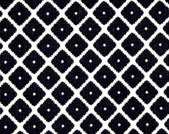 Navy Blue Geometric Fabric Heavyweight Woven Fabric Blue White Upholstery Fabric By The Yard