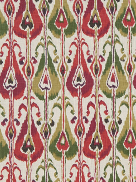 Pink and lime green ikat upholstery fabric modern fuchsia curtain