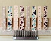 Washi Tape Covered Clothespins Set of 8 Mini Clothespins Blue Gray