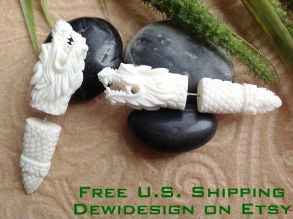 SALE: Fake Gauge Earrings, Dragon Spikes, Naturally Organic, Bone, Handcrafted, Tribal