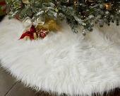 4' Shaggy White Mongolian Round Christmas Tree Skirt