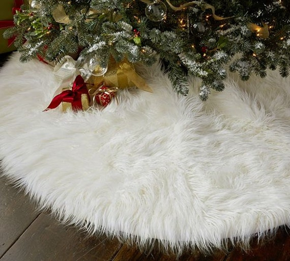 3' Shaggy White Mongolian Round Christmas Tree Skirt